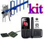 Kit Telefone Celular Rural 2 Chip + Antena Externa 15dbi