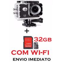 Câmera Ação +acessorios+ Suportes Tipo Go Proe+ Sd 32gb Wifi