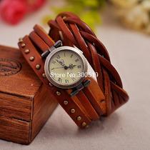 Relógio Pulseira De Couro, Lindo, Várias Cores Frete Grátis