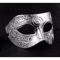 Máscara Masculina Sexy Romanos Medieval Festa Sensual Prata