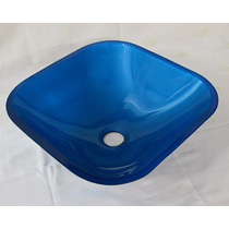 Cuba De Vidro Azul Para Banheiro - Quadrada Small - 36cm