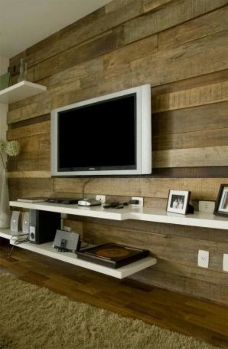 Tv Fixa Na Parede Da Sala ~ Painel Madeira Tv Revestimento Parede Sala Cozinha  R$ 120,00 no
