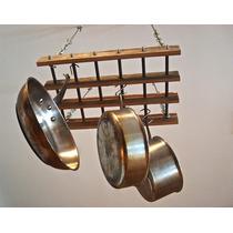 Paneleiro Suspenso Rústico Em Madeira/aço 65cm X 40cm