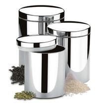 Conjunto De Potes Para Mantimentos 3 Pcs Brinox Em Aço Ino