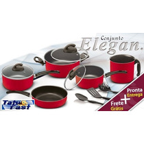Conjunto Panelas 8 Pçs Elegan Teflon Tampa De Vidro Vermelho