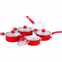 Jogo 5 Panelas Alumínio Red De Cerâmica Bon Gourmet - 4115
