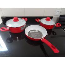 Jogo Panelas Caçarola Cerâmica Dm Cooker 3 Pçs Premium House