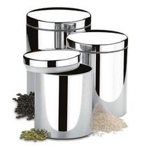 Conjunto Potes Para Mantimentos 3 Pcs Brinox Em Aço Inox