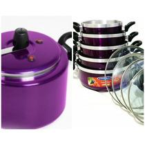 Kit Patolux- Panela De Pressão+ Jogo Panelas 5 Pçs Violeta