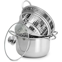 Espagueteira Em Aço Inox 4 Lts Com Tampa 22cm Menor Preço