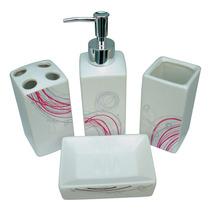 Jogo De Banheiro 4 Peças Porcelana Colors - Yazi (rosa)