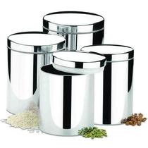 Conjunto Potes Para Mantimentos 4 Pcs Brinox Em Aço Inox