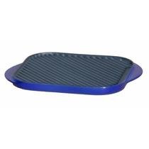 Chapa Grill Dupla Ferro Esmaltado Azul Pequena 27x25x2 Cm