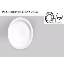 Kit C/6 Prato Raso Branco 27cm De Porcelana Buffet Oxford