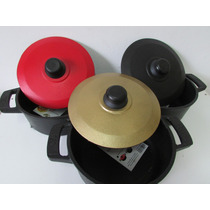 Jogo 3 Panelas De Ferro Fundido Coloridas Utens Cozinha