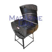 Churrasqueira Craquelada A Bafo Carvão Modelo Tambor