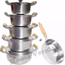 Conjunto De Panelas Alumínio Fundido Batido + Frigideira 6pc