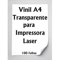 Vinil Adesivo A4 Transparente Impressora Laser 100 Folhas