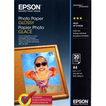 Papel Fotográfico A4 196g Glossy Epson Pacote Com 20 Folhas