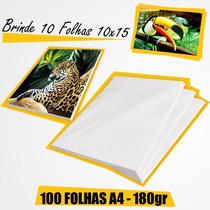 Papel Foto 100 Folh Glossy À Prova D´água 180g A4 + Brinde