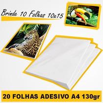 Papel Foto Adesivo Brilhante A4 130 Gr 20 - Folhas + Brinde