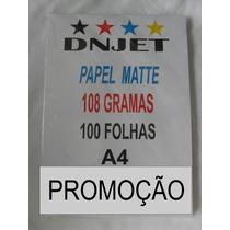 Papel Matte 108 Gramas Para Sublimação Pct 100 Folhas!!!