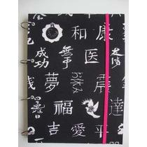 Caderno Argolado Ideograma Japones E Preto De Caveira Branc