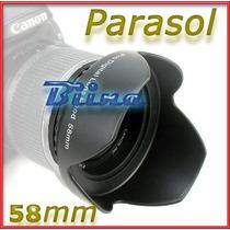 Parasol 58mm Tulipa Lente Canon18-55mm T3 T3i T4i T5i Biina