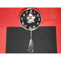 Relogio Cozinha Mestre Cuca Pendulo Balança Metal E Vidro