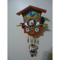 Relógio Pêndulo Casa Suiça Pássaro Azul C/ Alpinista 1641sq