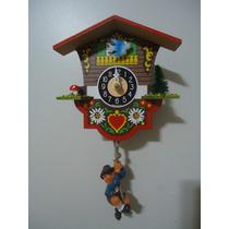 Relógio Pêndulo Casa Suiça Com Som Cuco Pássaro Azul 01642sq