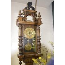 Antigo Magnífico Relógio Alemão Parede Frontal Leão De Bonn