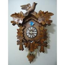 Relógio Pêndulo A Pilha Com Som Cuco Pássaro Folhas 0825qp