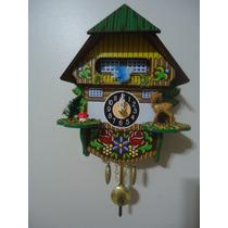 Relógio Pêndulo A Pilha Casa Suiça Com Som Cuco 0144qp