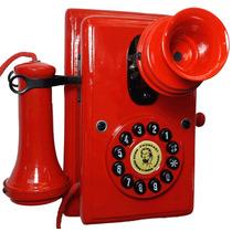 Telefone Antigo Nelphone De Parede Vermelho