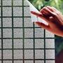 Adesivo Jateado Quadriculado, Box Janela, Vidro, 100x100 Cm