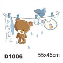 Adesivo D1006 Ursinho Bebe Quarto Decorativo Masculino