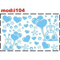 Adesivo I104 Ursos Balões Balão Corações Quarto