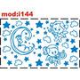 Adesivo I144 Lua Anjos Estrelinhas Nuvens Céu Quarto Menino
