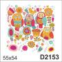 D2153 Adesivo Decorativo Coruja Pássaro Flores Flor Infantil