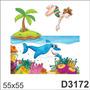 Adesivo D3172 Infantil Fundo Do Mar Tubarao Mergulhador