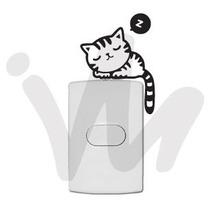 Adesivo Decorativo De Tomada Interruptor Gato Quarto Cozinha