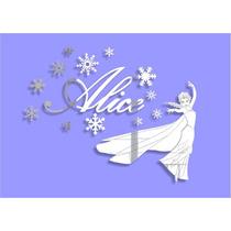 Espelho Adesivo Quarto Infantil Frozen - Nome Personalizado