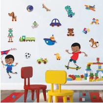 Adesivo De Parede - Menino Brinquedos 529c - Decoração