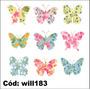Adesivo Decorativo Kit Lindas Borboletas Estampadas Will183