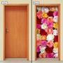 Adesivo Decorativo De Porta - Rosas Coloridas - 066mlpt