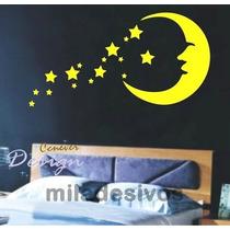 Adesivo Decoração De Parede Infantil Lua Com Várias Estrelas