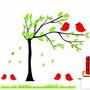 Adesivo De Parede Decoração Pássaro Árvore