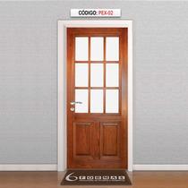 Adesivo Porta Textura Madeira Com Vidros Mod Pex02