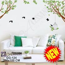 Adesivo Decorativo Galhos Passaros E Gaiola Modernos - Gg124